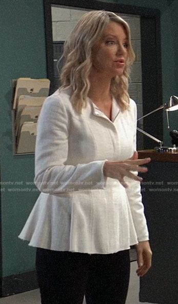 Nina's white peplum jacket on General Hospital