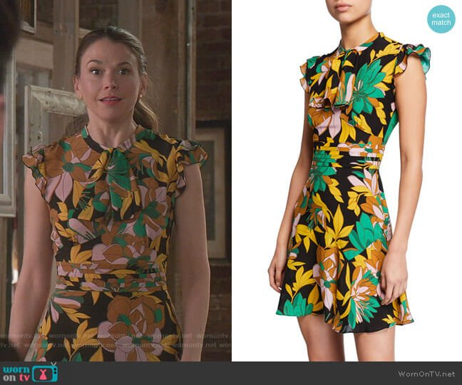 Floral-Print Cap-Sleeve Silk Dress by No.21 worn by Liza Miller (Sutton Foster) on Younger