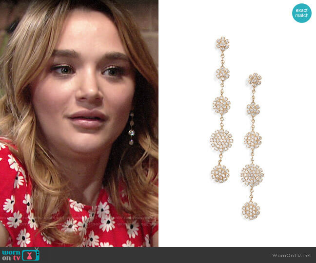 Nordstrom Pave Starburst Drop Earrings worn by Summer Newman (Hunter King) on The Young & the Restless