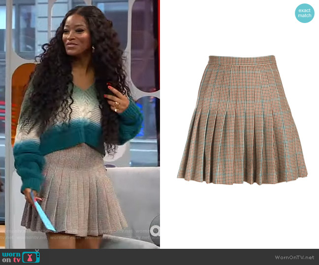 Check Pleated Wool Mini Skirt by Off-White worn by Keke Palmer  on Good Morning America