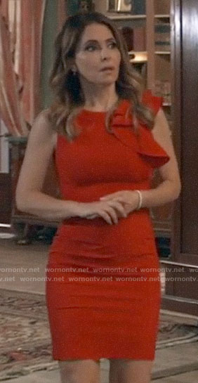 Olivia's red side ruffle dress on General Hospital