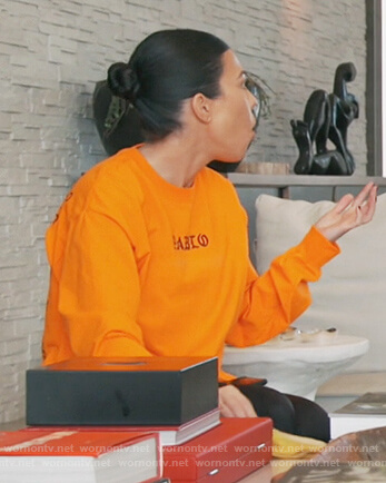 Kourtney's orange Pablo sweatshirt on Keeping Up with the Kardashians