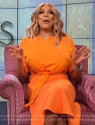 Wendy's orange tie front top and skirt on The Wendy Williams Show