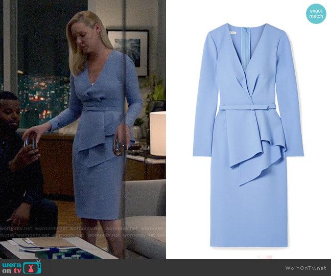 Oscar de la Renta Draped stretch wool-blend dress worn by Samantha Wheeler (Katherine Heigl) on Suits