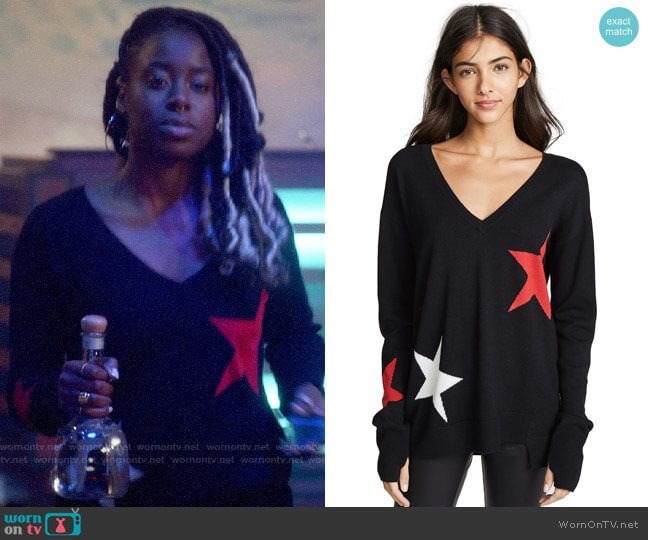 Pam & Gela V Neck with Star Intarsia worn by Veronica Mars (Kristen Bell) on Veronica Mars