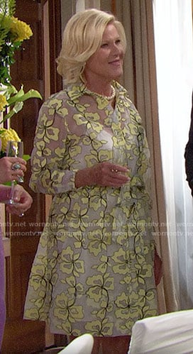 Pam's sheer yellow floral dress on The Bold and the Beautiful