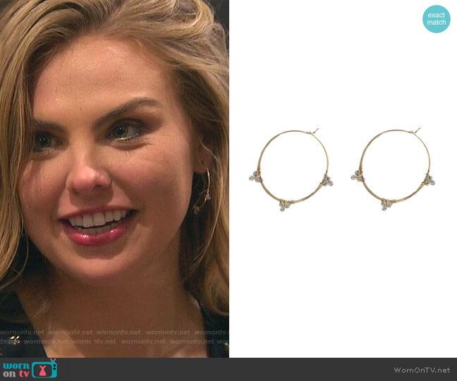 Gemmed Hoop Earrings by Peggy Li worn by Hannah Brown  on The Bachelorette