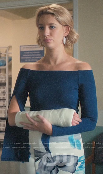 Petra's blue off-shoulder top and floral pencil skirt on Jane the Virgin