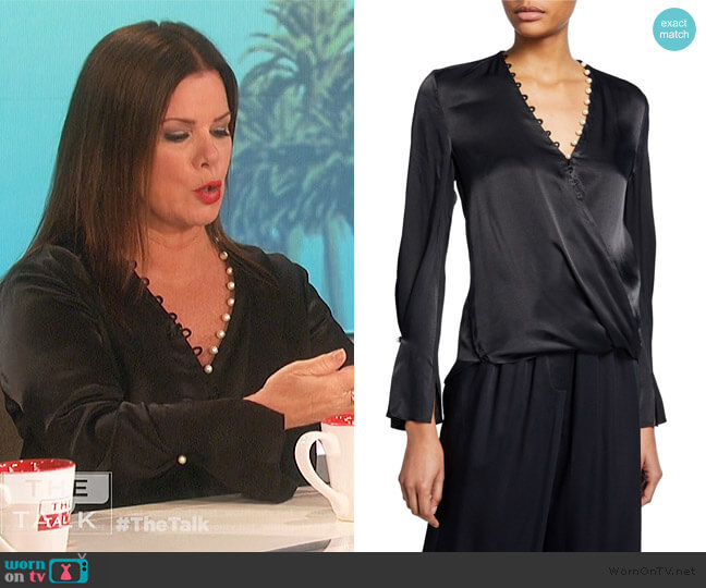 Satin High-Low Drape Blouse by 3.1 Phillip Lim worn by Marcia Gay Harden on The Talk