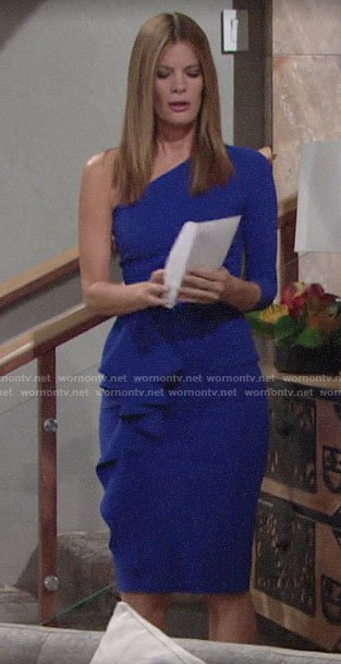 Phyllis's blue one-shoulder July 4th dress on The Young and the Restless