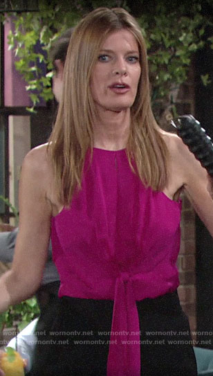 Phyllis's pink tie-front top on The Young and the Restless