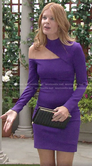 Phyllis's purple asymmetric cutout dress on The Young and the Restless