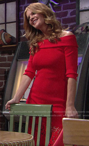 Phyllis's red off-shoulder dress with lace hem on The Young and the Restless