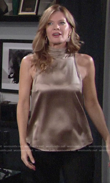 Phyllis's silk high neck blouse on The Young and the Restless