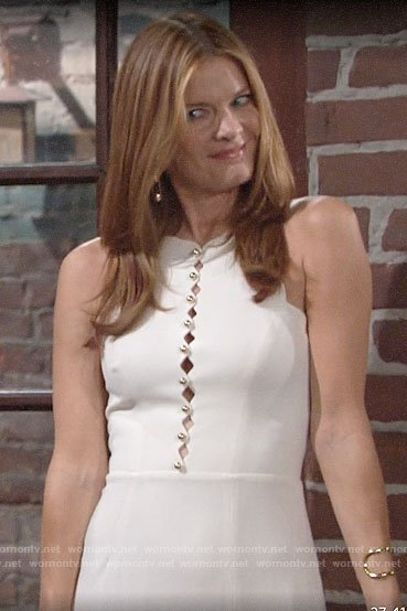 Phyllis's white scalloped cutout dress on The Young and the Restless