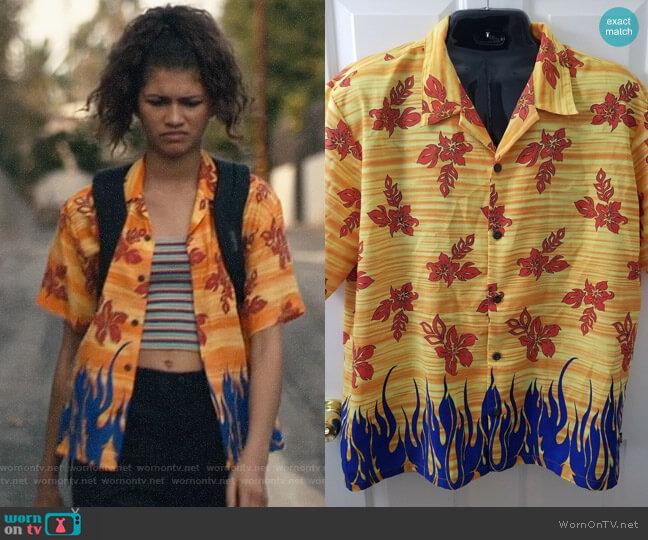 Pineapple Connection Tribal Flames Shirt worn by Rue Bennett (Zendaya) on Euphoria
