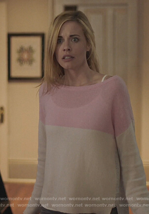 Kelly Anne's colorblock cashmere sweater on Queen of the South