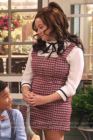 Jade's pink check pinafore dress and blouse on Family Reunion