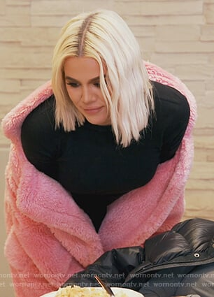 Khloe's pink fur coat on Keeping Up with the Kardashians