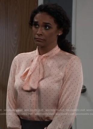Jordan's pink polka dot tie neck blouse on General Hospital