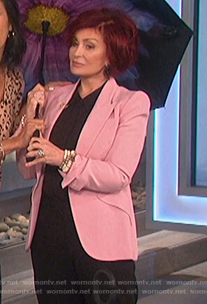 Sharon's pink single breasted blazer on The Talk