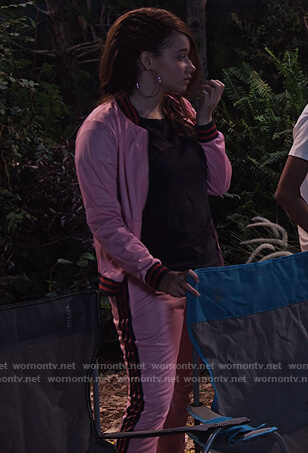 Jade's pink bomber jacket and track pants on Family Reunion