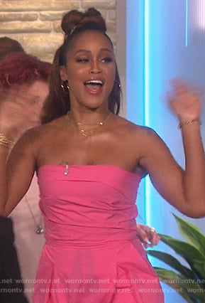 Eve's pink strapless jumpsuit on The Talk