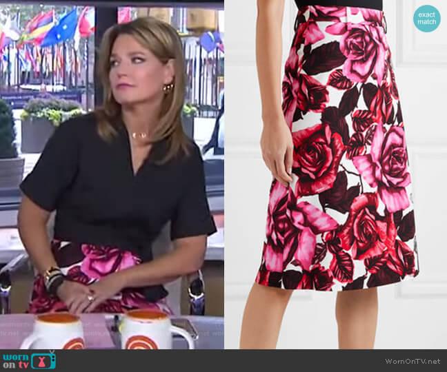 Floral-print cotton-poplin skirt by Prada worn by Savannah Guthrie  on Today