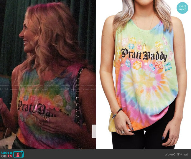 Pratt Daddy Crystals Pastel Tie Dye Tank worn by Stephanie Pratt  on The Hills New Beginnings