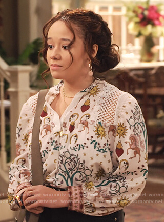 Jade's white print blouse with lace insets on Family Reunion