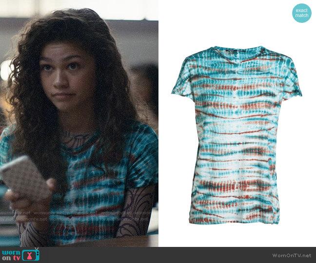 Proenza Schouler Tie Dye T-shirt worn by Rue Bennett (Zendaya) on Euphoria