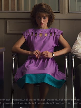 Nancy's purple cutout dress on Stranger Things
