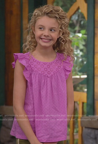 Destiny's purple eyelet top and stripe pants on Bunkd