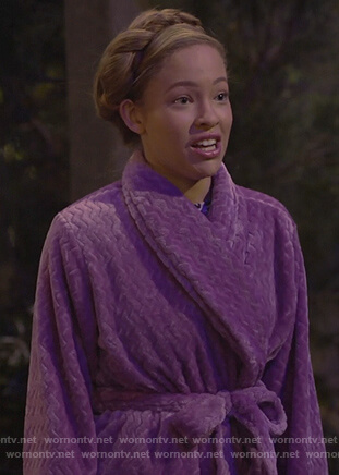 Ava's purple bathrobe on Bunkd