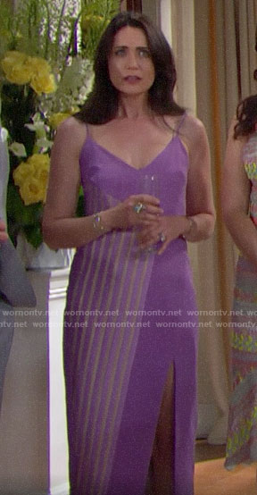 Quinn's purple striped panel dress at Hope's wedding on The Bold and the Beautiful