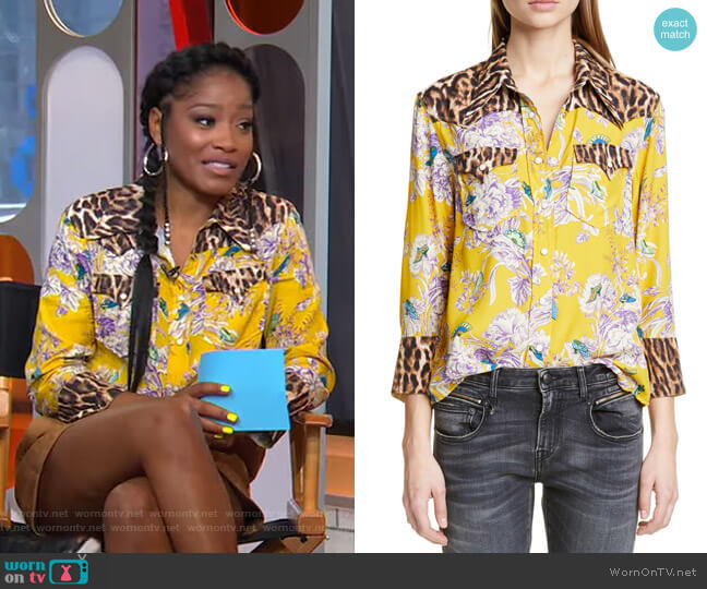 Exaggerated Collar Mixed Print Cowboy Shirt by R13 worn by Keke Palmer  on Good Morning America