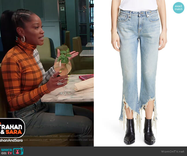 Spiral Kick Ripped Bootcut Jeans by R13 worn by Keke Palmer  on Good Morning America