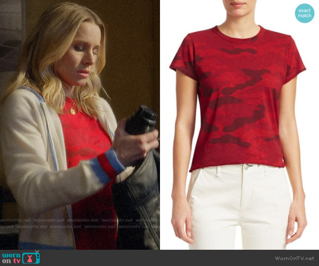 Rag & Bone Cotton Camo Tee in Red worn by Veronica Mars (Kristen Bell) on Veronica Mars