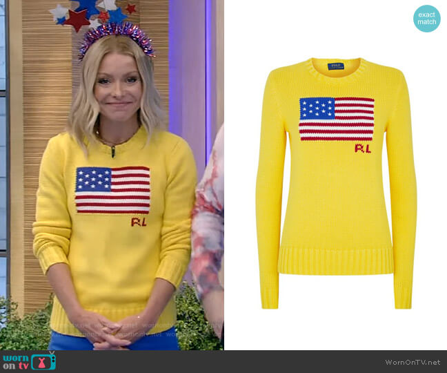 American Flag Sweater by Ralph Lauren worn by Kelly Ripa  on Live with Kelly & Ryan