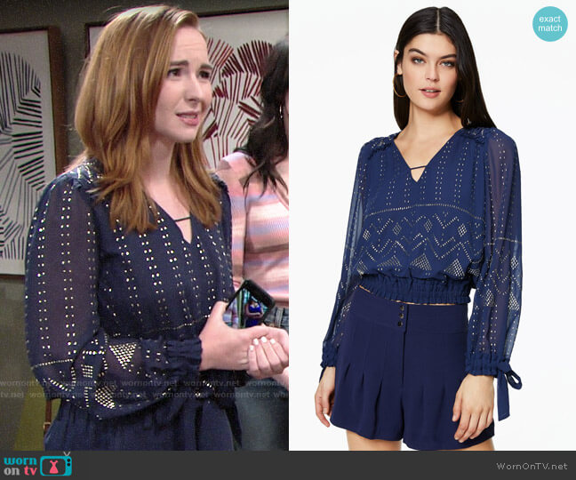 Ramy Brook Leeor Top worn by Mariah Copeland (Camryn Grimes) on The Young & the Restless