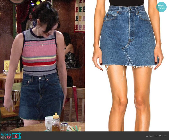 Re/Done x Levis High Rise Mini Skirt worn by Tessa Porter (Cait Fairbanks) on The Young & the Restless