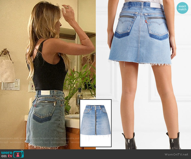 Re/Done x Levis Zip Embellished Frayed Denim Mini Skirt worn by Audrina Patridge  on The Hills New Beginnings
