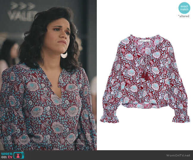 Penelope Blouse by Rebecca Minkoff worn by Yoli (Justina Adorno) on Grand Hotel