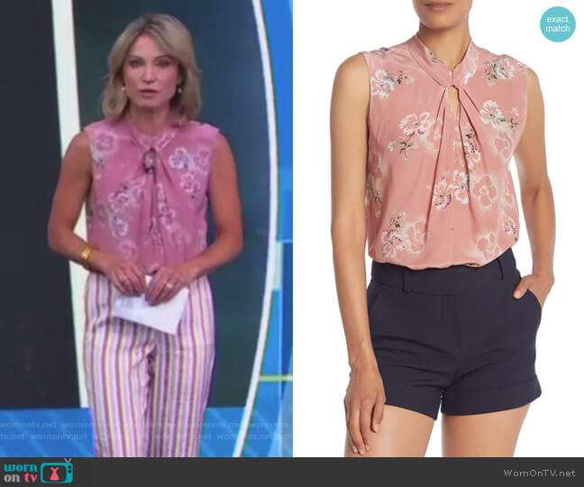 Floral Keyhole Silk Tank Top by Rebecca Taylor worn by Amy Robach  on Good Morning America