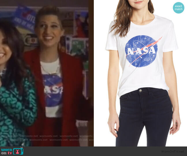 Nasa Graphic Tee by Recycled Karma worn by Nomi Segal (Emily Arlook) on Grown-ish