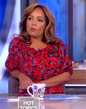 Sunny's red print off shoulder dress on The View