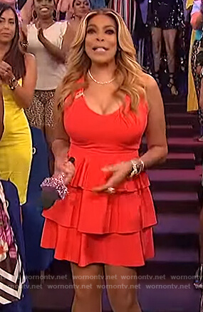Wendy's red sleeveless tiered dress on The Wendy Williams Show