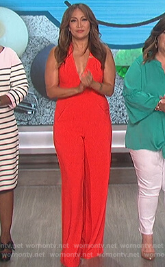 Carrie's red sleeveless jumpsuit on The Talk