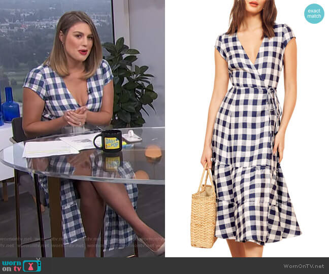 Calista Wrap Dress by Reformation worn by Carissa Loethen Culiner  on E! News