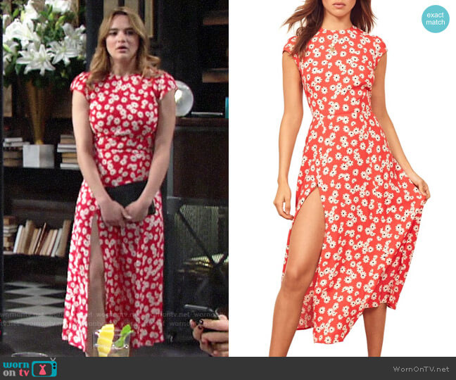 Reformation Gavin Dress in Oopsie Daisy worn by Summer Newman (Hunter King) on The Young & the Restless